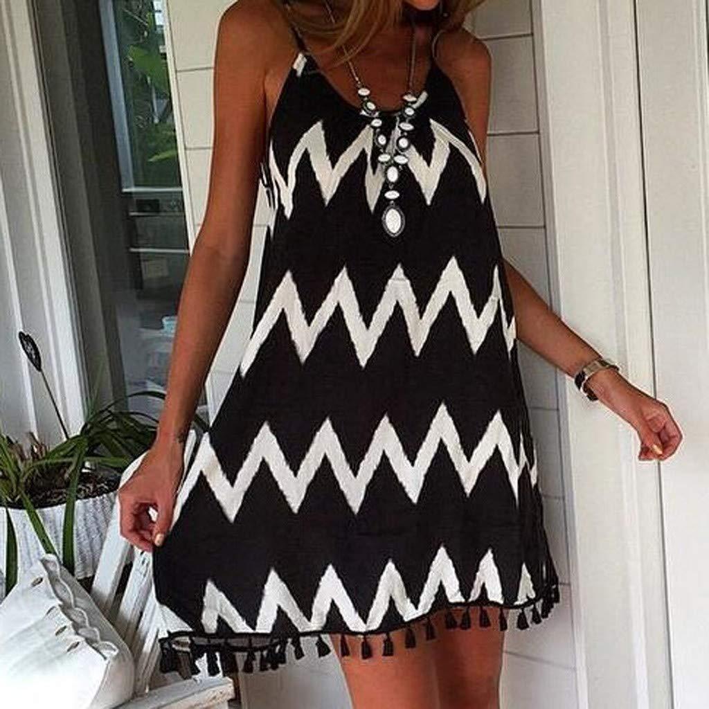 Toponly Summer Beach Dresses for Women Sundresses Boho Casual wave Pattern Tassel Strap Sleeveless Loose Swing Dress