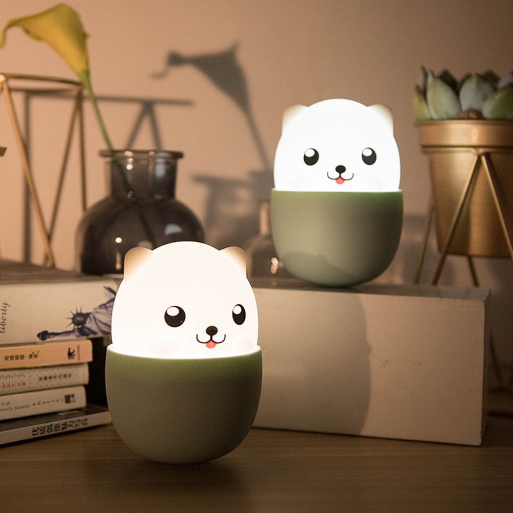 Night Light for Kids, Nursery Lamp with Touch Control Adjustable Brightness,Cute Silicone Puppy Baby Night Lamp for Home/Dorm Decor Girls Birthday Gifts by Funwill