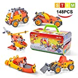 Model Building Blocks Toys Set Cars Airplane DIY Kits to Build 5-in-1 STEM Learning Toys 148PCS Education Construction Engineering Building Toys Gifts For Kids Boys and Girls Toys