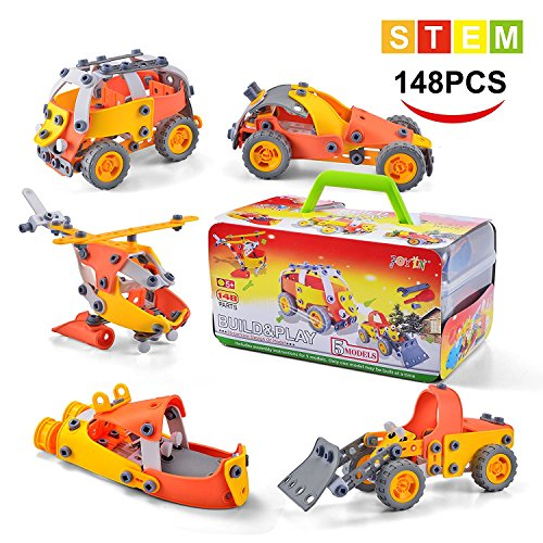 Model Building Blocks Toys Set Cars Airplane DIY Kits to Build 5-in-1 STEM Learning Toys 148PCS Education Construction Engineering Building Toys Gifts For Kids Boys and Girls Toys by JieTengFei