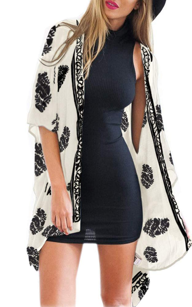 Womens Floral Kimono Cardigan Casual Loose Sleeve Boho Cotton Cover up Blouses Top Size S