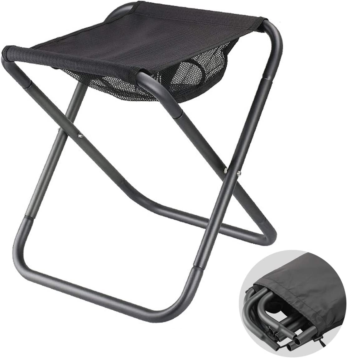 Large Size Aluminium Alloy Lightweight Load 300LB Outdoor Foldable Slacker Chair with Storage Bag for Camping Fishing Beach BBQ Travel Hiking OutyFun Portable Folding Stool