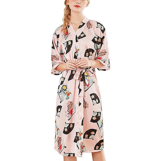 OPAKY Mujeres Simulación Seda Damas Pijamas Lencería Bata Albornoz Novia Bata Servicio a Domicilio Kimono Mujer Batas Cortos Lenceria Lindo Casual Moda ...