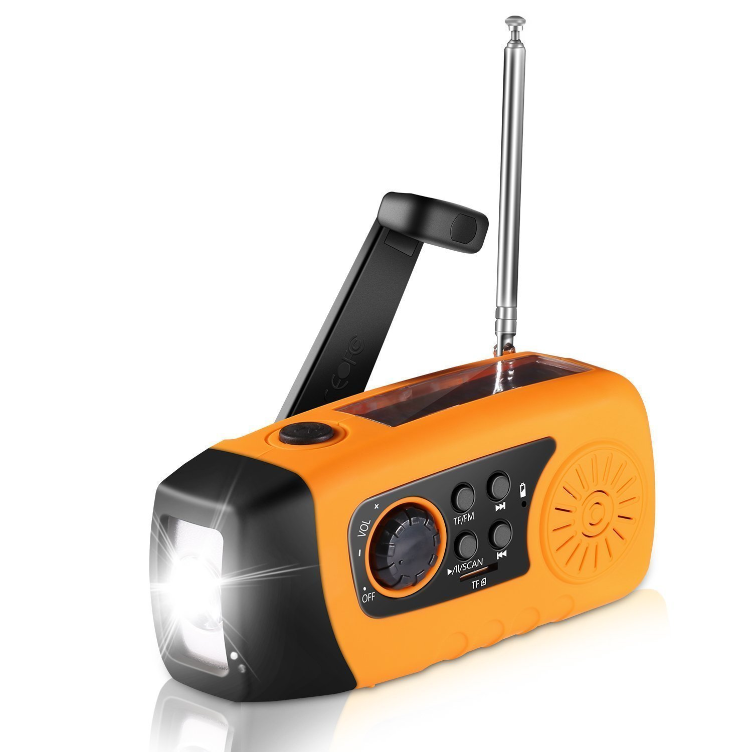 Diswoe Emergency Hand Crank, Self Powered FM Solar Weather Radio with LED Flashlight, MP3 Player, 2000mAh Power Bank for iPhone/Smart Phone Camping Outdoor Sports(Orange) by Diswoe
