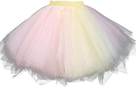 Fancent - Falda - Trapecio - para Mujer Multicolor Pink Yellow ...