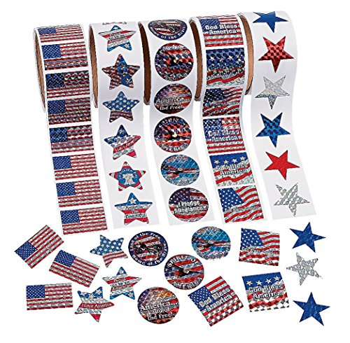 - Fun Express Patriotic Rolls Of Stickers Assortment - 5 Rolls