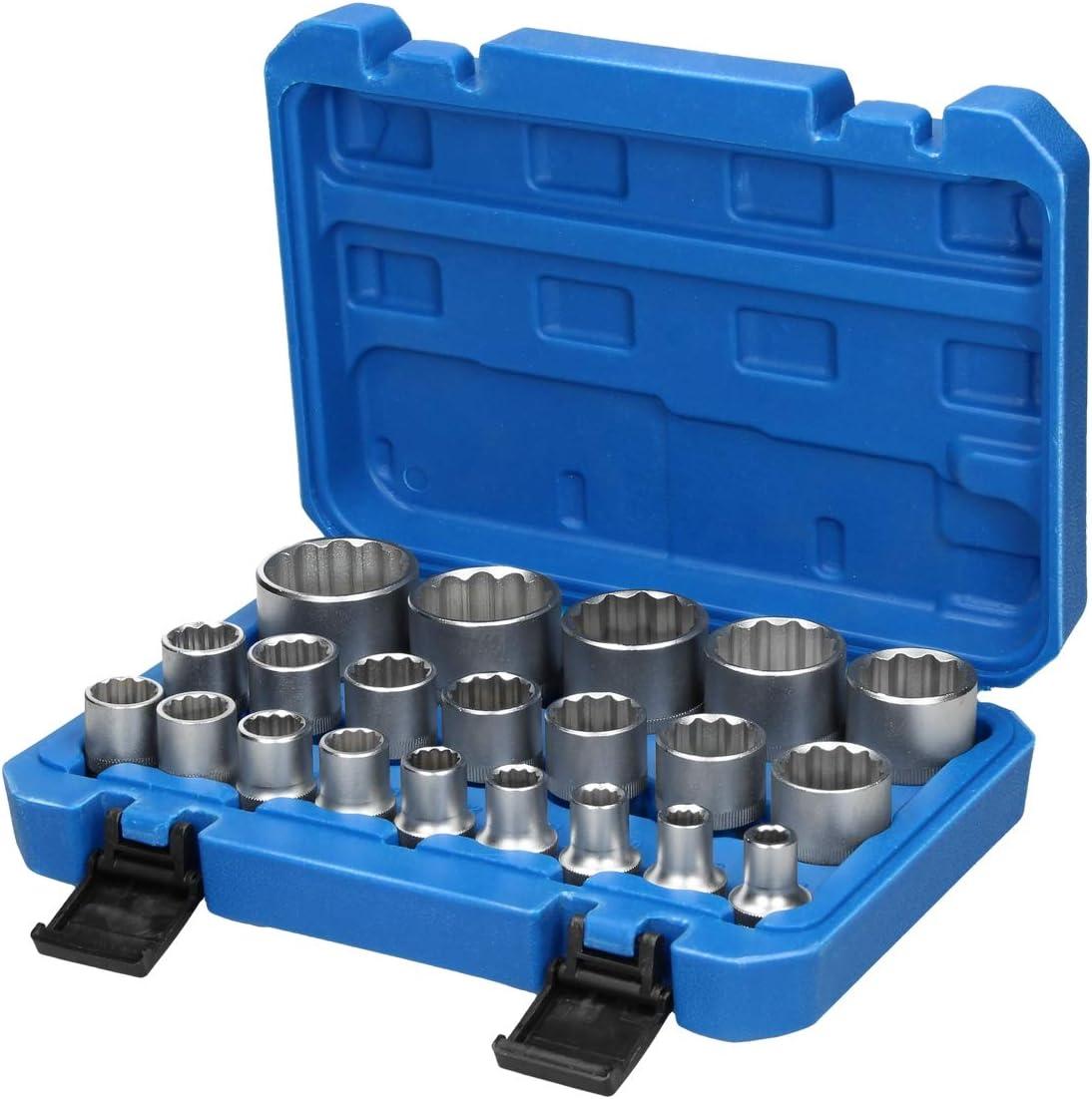 ECD Germany Cilnceles Set 12 piezas cromados juego de herramientas de acero al vanadio pin perforadora cincel plano cinceles para trabajo artesanal de bricolaje conjunto de herramientas de talla