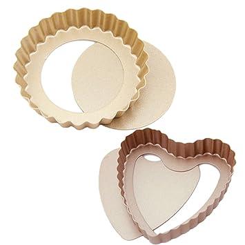 quiche Tart sartenes redondas y con forma de corazón Mini antiadherente Pastel sartenes con extraíble Base desmontable, champán (2 unidades y # xFF09;: ...