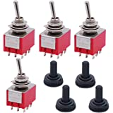 Twidec/4Pcs Mini Toggle Switch 3PDT 2 Position 9 Pins ON/ON Miniature Toggle Switch AC 5A/125V 2A/250V Car Boat Switches With