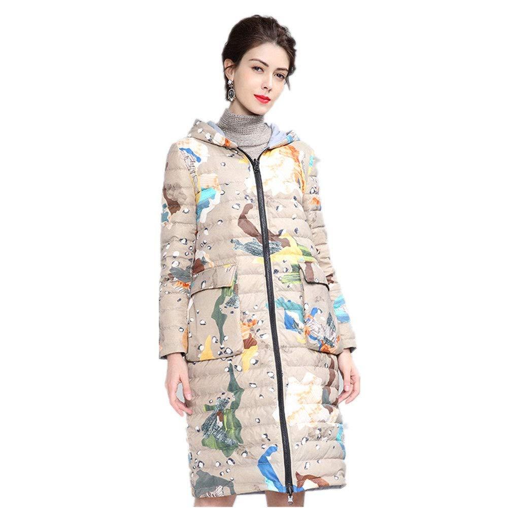 YZ-HOD Frauen Daunenjacke Winter Persönlichkeit Camouflage Druck beiläufige weiße Ente Daunenjacke mit Kapuze im Langen Abschnitt