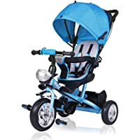 Deuba Triciclo Infantil Triciclo para Niño Pequeño Bebé Protección Solar Plegable Barra para Padres Muchos Accesorios Ruedas de PU Niño Niña Triciclo Evolutivo Color Azul