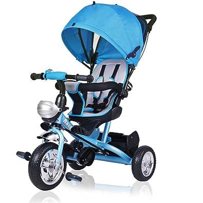 Deuba Triciclo Infantil Triciclo para Niño Pequeño Bebé Protección Solar Plegable Barra para Padres Muchos Accesorios Ruedas de PU Niño Niña Triciclo ...