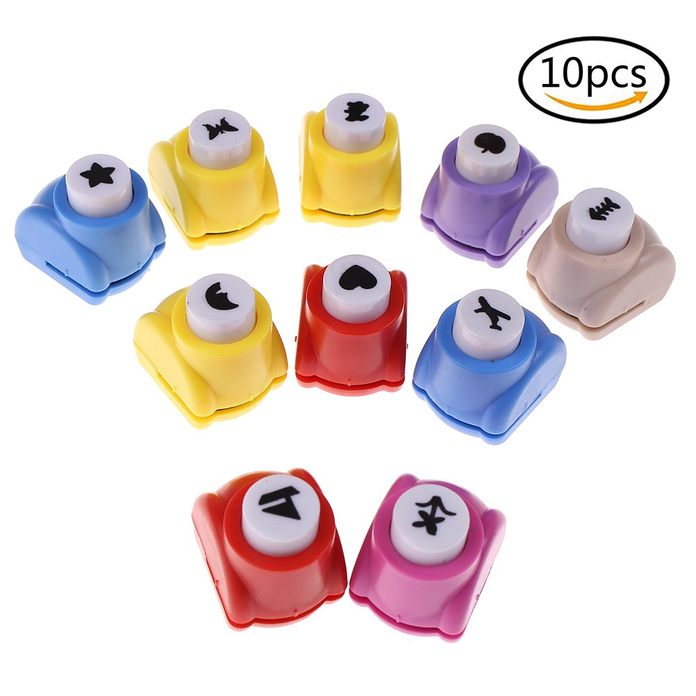 10 Pieces Mini Scrapbook Paper Punchers Kid Cut DIY Handmade Paper Hole Punches for Scrapbook By DINGJIN