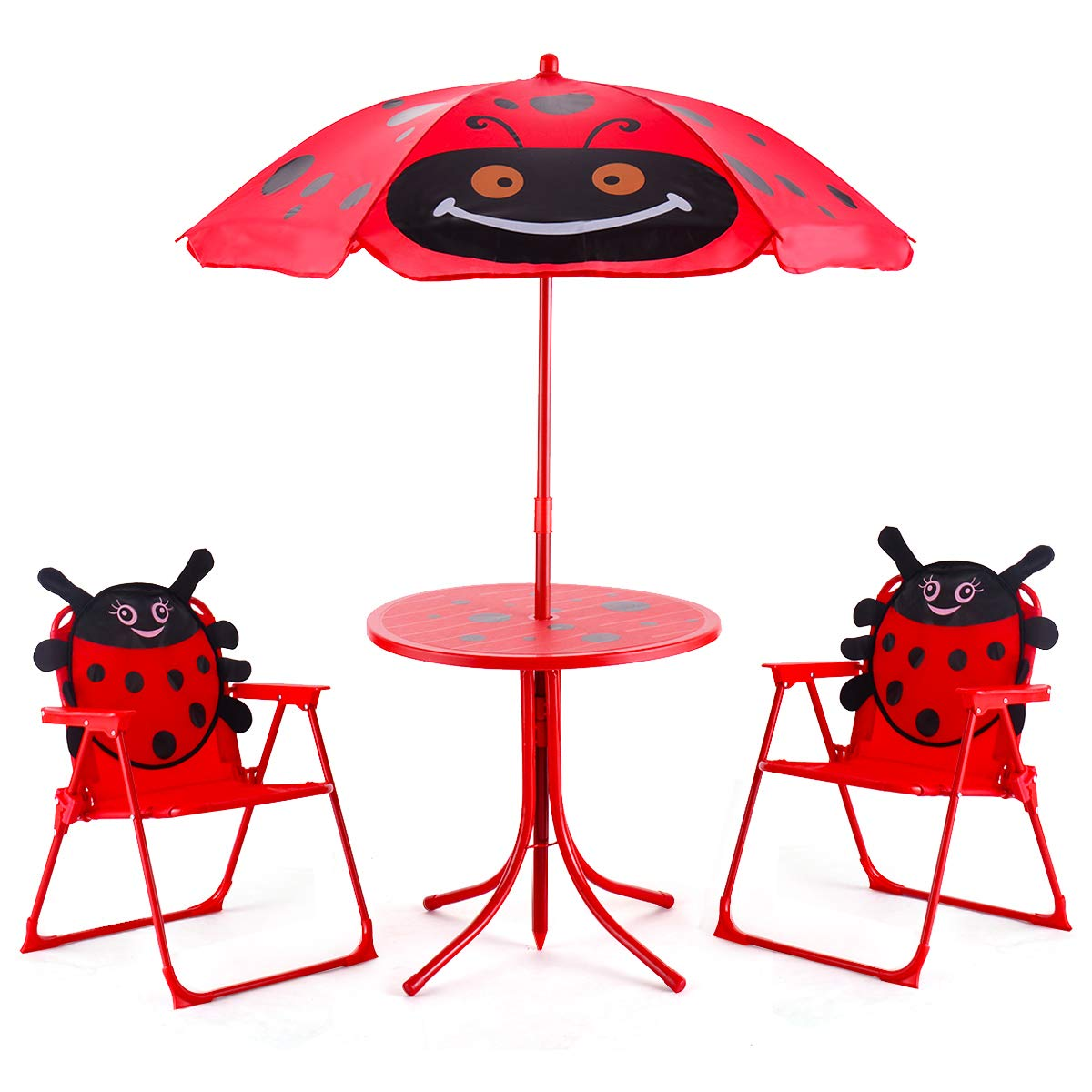 Costzon Kids Table and 2 Chair Set, Ladybug Folding Set with Removable Umbrella for Indoor Outdoor Garden Patio by Costzon