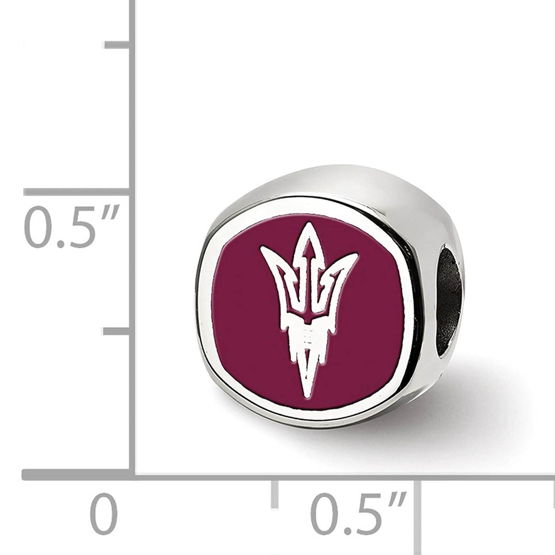 Sterling Silver Rhodium-plated Laser-cut Arizona State University Cushion Shaped Double Logo Bead Charm