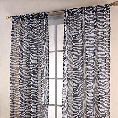 Gorgeous Home 1PC ZEBRA GRAYISH ANIMAL PRINTED SOFT VOILE SHEER WINDOW CURTAIN PANELS DRAPES 54