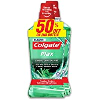 Colgate Plax Mint Mouthwash Valuepack, Bamboo Charcoal, 750ml (Pack of 2)