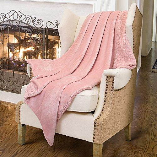 Pink Sherpa Throws Blanket,Luxury Reversible Match Color Super Soft Fuzzy Micro Plush Fleece Snuggle Thick Gift Blanket All Season for TV Bed or Couch 50 x 60 By Catalonia (Throw Pink Blanket)