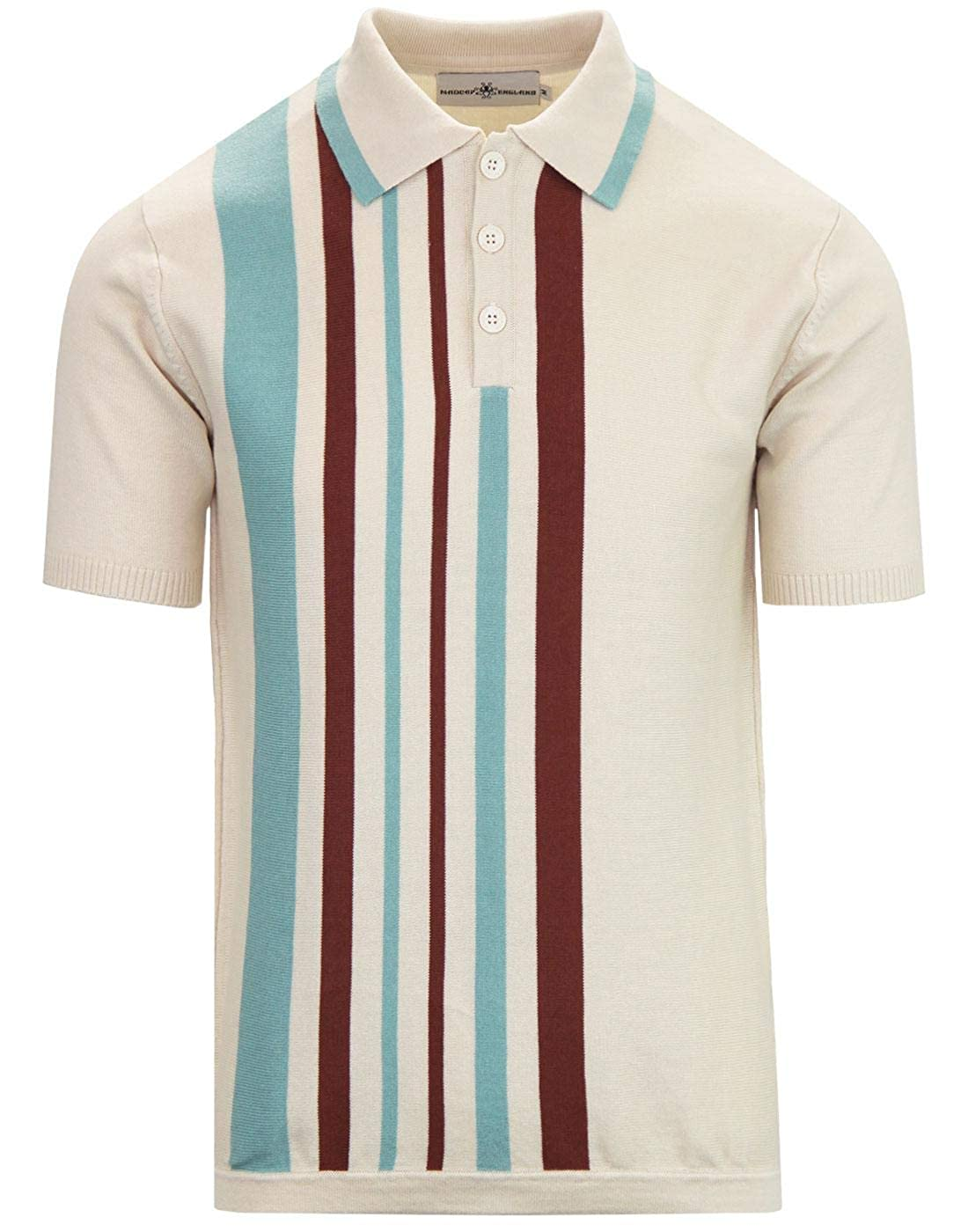 1960s – 70s Mens Shirts- Disco Shirts, Hippie Shirts Madcap England Bauhaus Mens Mod 50s 60s Style Knitted Polo Shirt �34.99 AT vintagedancer.com