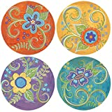 Thirstystone Stoneware Coaster Set, Gypsy Blossoms
