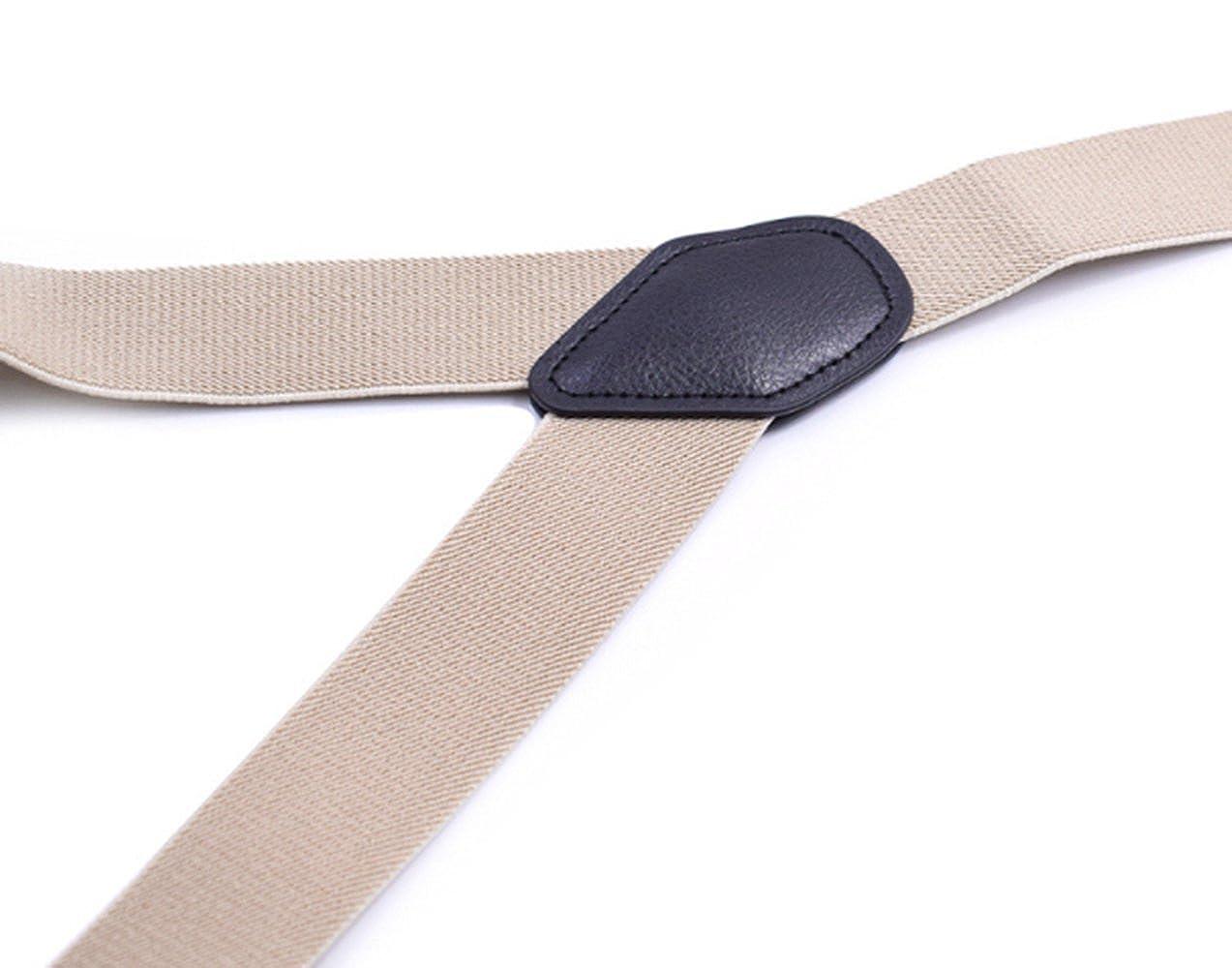 YUNEE Man Straps 6 Clips Leather Trousers Jeans Y Elastic Shape Fit Brace