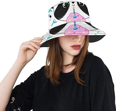 Beach Hat Summer Unisex Bucket Hat Giant Panda Delicious Cake Cotton Outdoor Hats Hiking Rain Picnic Hat for Women Fisherman