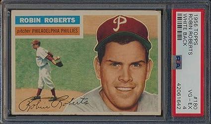 180 Robin Roberts Hof 1956 Topps White Back Baseball Cards
