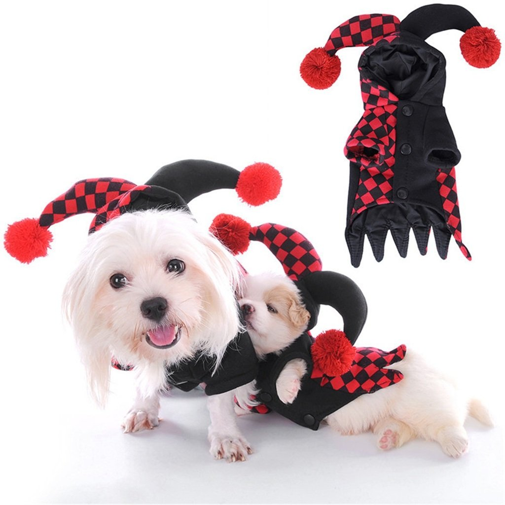 M PetBoBo Pet Dog Cat Halloween Costume Clown Hooded Costumes Soft Dog Clothes Costumes Jeans Cat Funny Apperal M
