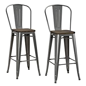 """DHP Luxor Metal Counter Stool with Wood Seat and Backrest, Set of two, 30"""", Antique Gun Metal"""