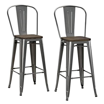 78baee3ee55 Amazon.com  DHP Luxor Metal Counter Stool with Wood Seat and Backrest