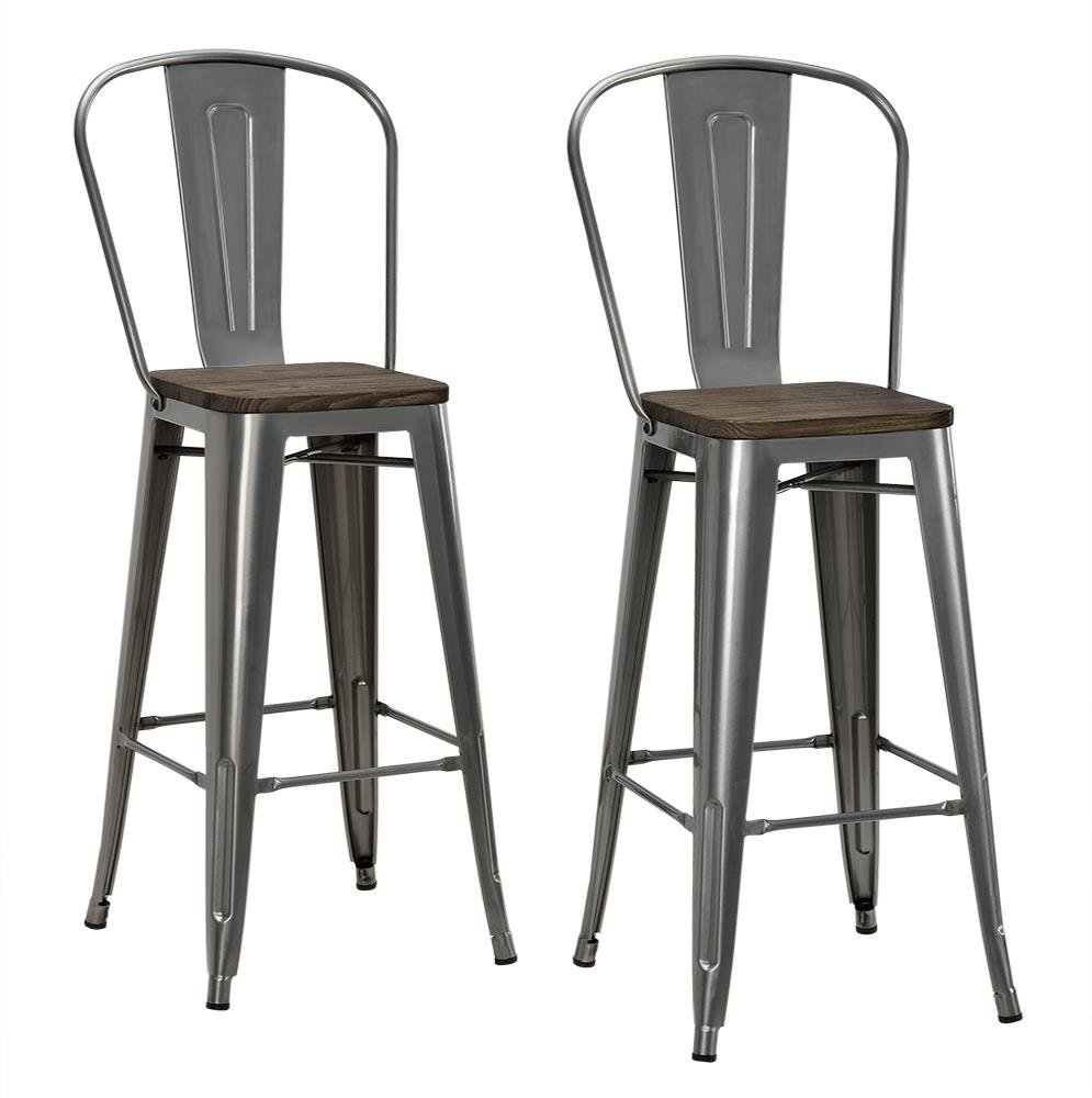 DHP Luxor Metal Counter Stool with Wood Seat and Backrest, Set of two, 30'', Antique Gun Metal