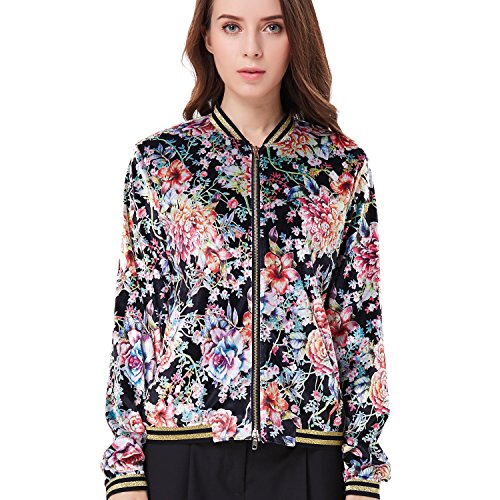 Silk Casual Jacket (Amee Hanke Women Classic Floral Print Bomber Jacket Quilted Lightweight Short Biker Baseball Jacket Coat (38))