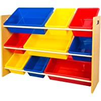 TopHomer Kids Children Toys Storage Shelves Wood Display Unit Shelf Rack Stand Holder with 9 Colorful Plastic Toy Organiser Bins Cases Boxes for Nursery Room Bedroom Playroom …