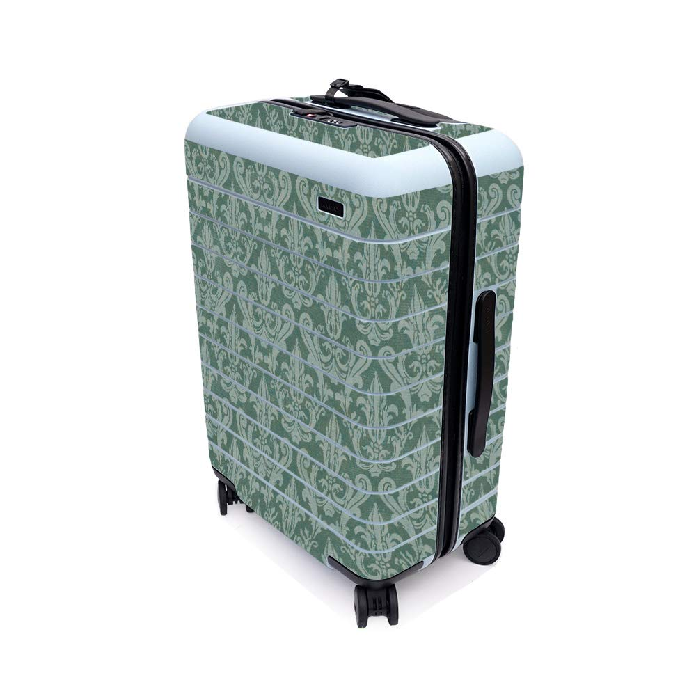 MightySkins Skin for Away The Bigger Carry-On Suitcase - Teal Damask | Protective, Durable, and Unique Vinyl Decal wrap Cover | Easy to Apply, Remove, and Change Styles | Made in The USA