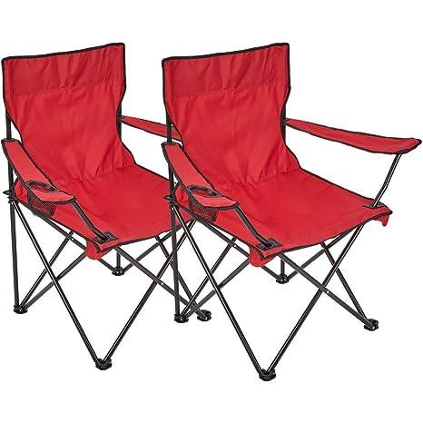 Silla plegable, 2 unidades, silla de camping con soporte para bebidas en reposabrazos, rojo