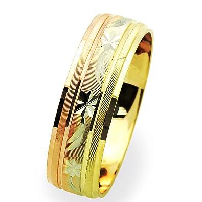 Amazon Com Double Accent 14k Tri Color Gold 6mm Dc Light Wedding