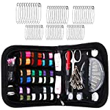Anpro Sewing Kit, Travel Mini Sewing Kit with 135pcs Sewing Accessories, 18 Multi Colors Spools of Thread, Extra 60 Safety pins, Household Portable Household Needlework Box