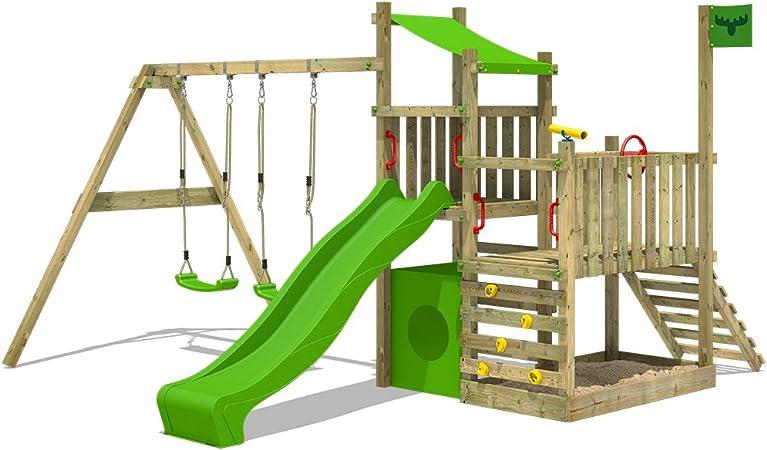 FATMOOSE Parque infantil de madera PowerPalm triple XXL con columpio SuperSwing y tobogán, Casa de juegos de jardin con arenero y escalera para niños: Amazon.es: Bricolaje y herramientas