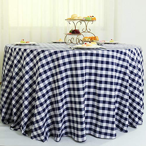 Zdada Round Navy Blue and White Check Table Cover Faric Checkered Table Cloth Polyester Tablecloth Grid Blanket 120inch