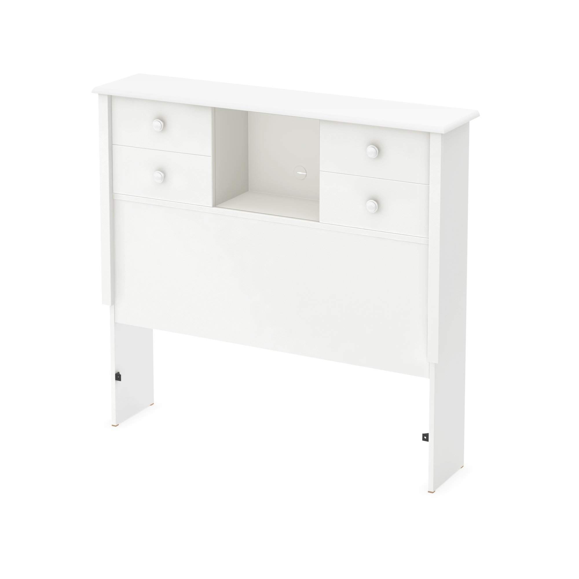 South Shore 39'' Little Smileys Bookcase Headboard with Sliding Doors, Twin, Pure White