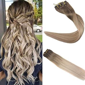 Amazon Com Easyouth 14 Clip In Hair Ombre Color 8 Ash Brown