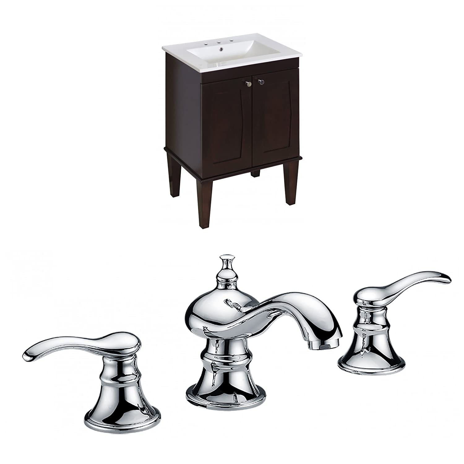 "Jade Bath JB-8085 24"" W x 18"" D Birch Wood-Veneer Vanity Set with 8"" o.c. CUPC Faucet, Antique Walnut high-quality"