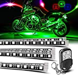 8 Pieces Motorcycle LED Strips Light Kit Fexible Multi-Color Accent Led Lights Lamp with Remote Controller for Harley Davidson Honda Kawasaki Suzuki Ducati Polaris KTM BMW Motorcycle (Pack of 8)