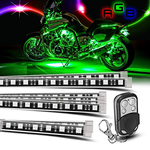 8 piece Motorcycle LED Lights Kit Strip/Multi-Color Accent/Glow LED Strip Lights/Motorcycle LED Flexible Lights Kit Strip with Remote Controller for Harley Honda Kawasaki Suzuki Ducati Polaris KTM - Scooter Kit Light Night