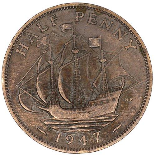 1947 UK Great Britain George VI Bronze Halfpenny Good