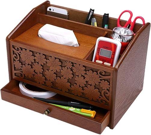 Tejido de madera caja de caja de la servilleta Escritorio de madera creativa organizar el almacenamiento