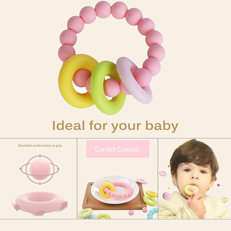 MBJERRY Baby Teether Teething Relief Jerrybaby Silicone Teething Ring Food-Grade Baby Teething Bracelet BPA-Free Blue