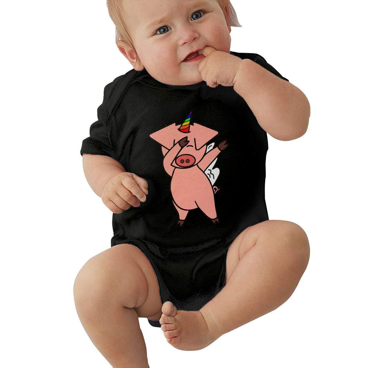 Cute Dabbing Unicorn Pig Baby Boys Sleep and Play Short Sleeve Romper Jumpsuit Bodysuit
