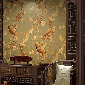 Sunzhi Goldfisch Koi Fische Springen Wallpaper Neue Chinesische Kalligraphie Retro Restaurant Tv Kulisse Tapete Nein  Farbe Tapete Nur Amazon De