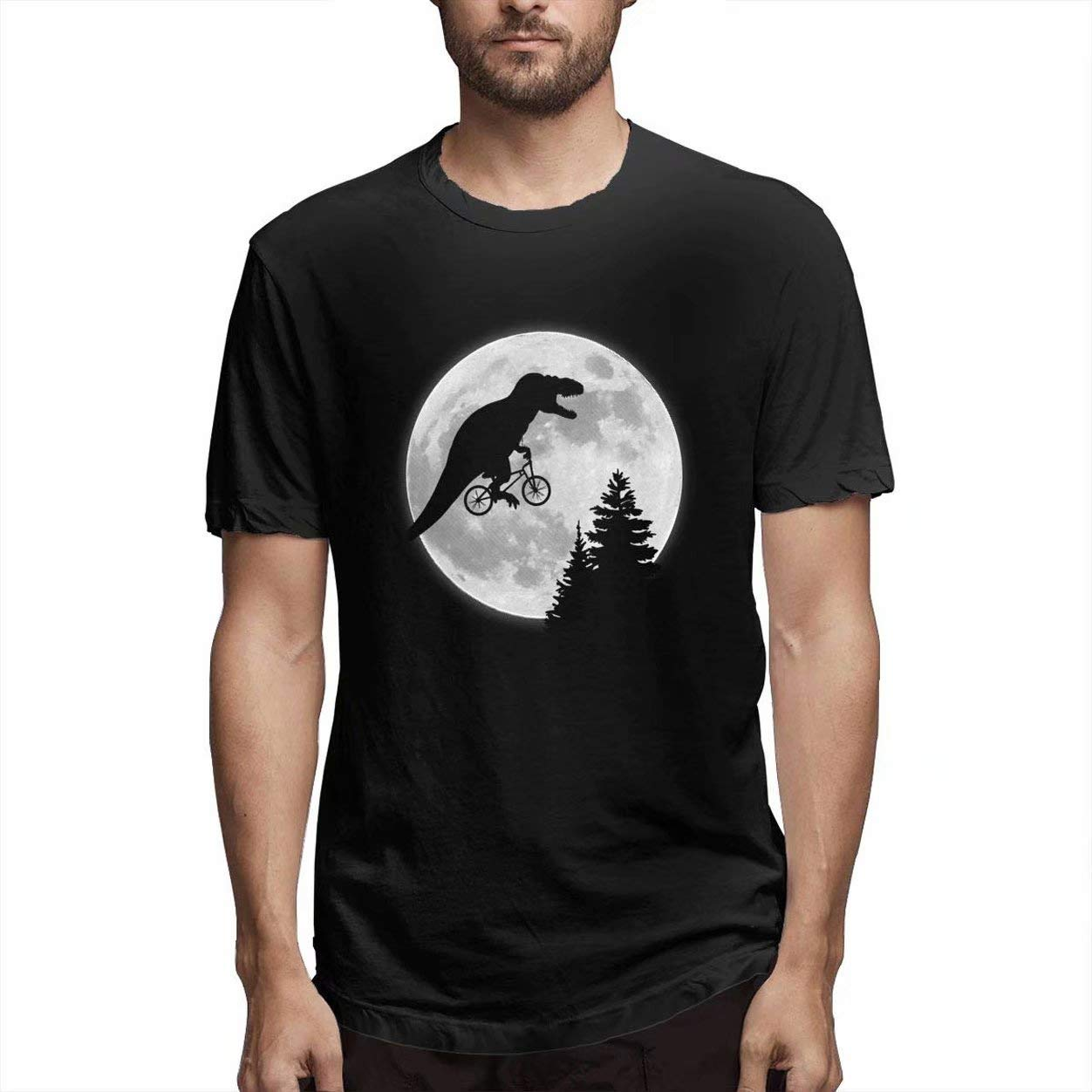 Maerinz Funny Dinosaur T Rex By Bike Fly To Big Moon Customize Tee O Neck Cool T Shirts Fo